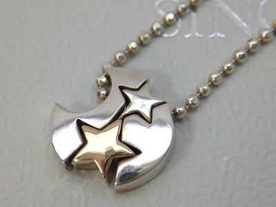 スタージュエリー(STAR JEWELRY) ムーン スター ペンダント SV925×K18