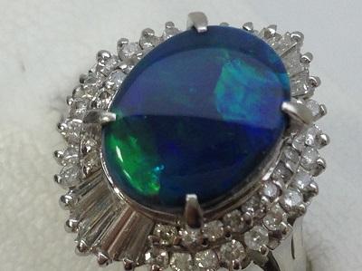 ブラックオパール2.89ct ダイヤモンド 0.75ct リング PT900