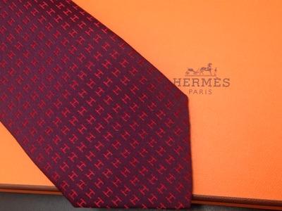 エルメス(HERMES) ネクタイ ボルドー 赤 H柄