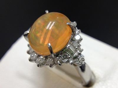 ファイアオパール 3.32ct メレダイヤモンド 0.46ct リング Pt900 プラチナ 宝石 高価買取 西京極 西院 七条店