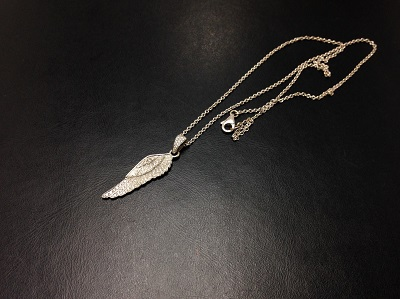 GARRARD ガラード フェザーネックレス 750WG ホワイトゴールド ダイヤモンド ブランドジュエリー 高価買取 七条店 西院