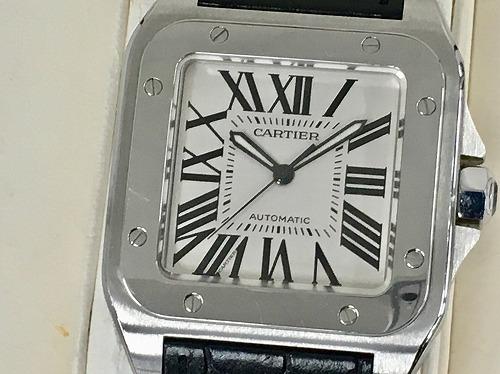 カルティエ(Cartier) サントス100LM SS×アリゲーター革 黒 2656 宅配買取 ブランド腕時計