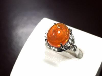 ファイアオパール Pt900 ダイヤモンド リング プラチナ 宝石 貴金属 渋谷 買取