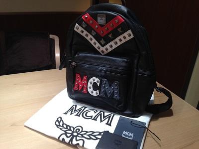 エムシーエム(MCM) バックパック レザー×キャンバス 黒 スタッズ ロゴ 渋谷 買取