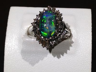 ブラックオパール メレダイヤモンド リング Pt900 プラチナ 宝石 色石 ジュエリー 高価買取