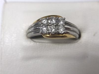 ダイヤモンドリング K18 Pt900 コンビ 6石 宝石 ジュエリー 高価買取 マルカ 出張買取