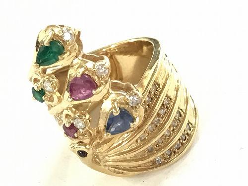 ルビー サファイヤ エメラルド ダイヤモンド リング 指輪 18金 宝石 マルチ マルカ 宅配買取 四条大宮店