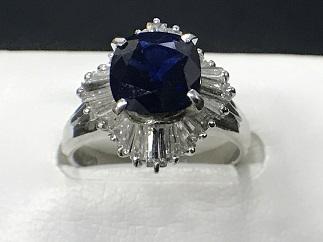 サファイアリング Pt900 ダイヤモンド プラチナ 宝石買取 高い 質屋 福岡 天神 博多 薬院 赤坂