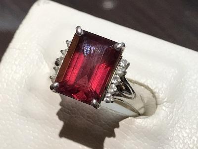 レッドトルマリン(TIURMALINE) ルベライト 指輪 リング プラチナ Diamond(ダイヤモンド) 京都 四条 烏丸 河原町 買取り
