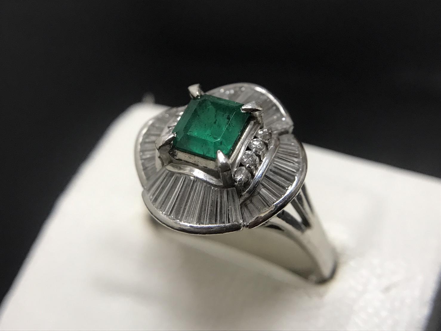 エメラルド 1.05ct メレダイヤモンド 1.00ct リング Pt900 プラチナ 宝石 色石 高価買取 七条店 西院