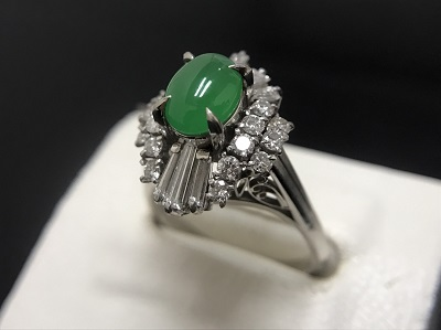 ヒスイ 1.01ct メレダイヤモンド 0.65ct リング Pt900 プラチナ 宝石 高価買取 七条店 西院