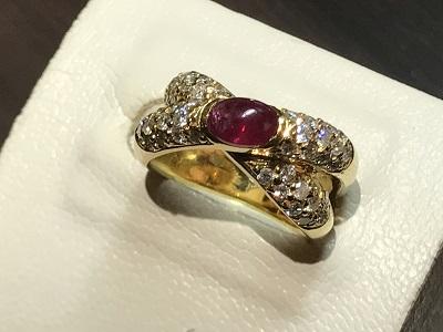 指輪 リング K18 ルビー(RUBY) ダイヤモンド(DIAMOND)買取 京都 四条 烏丸 河原町