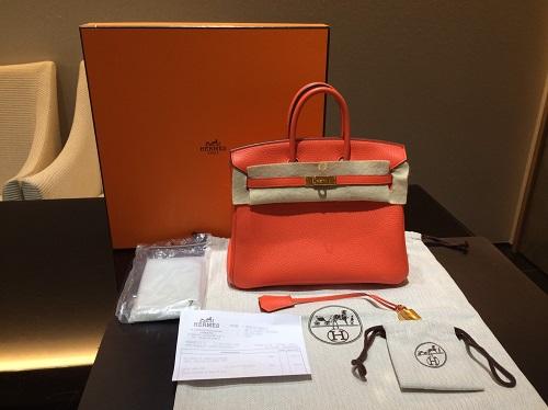 エルメス Hermès バーキン25 トリヨン オレンジポピー T刻印 G金具 買取 銀座 渋谷