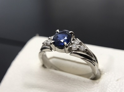 サファイア 1.20ct メレダイヤモンド 0.14ct リング Pt900 プラチナ 宝石 高価買取 宅配買取 西日本