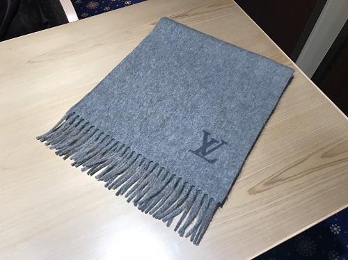 ルイヴィトン Louis Vuitton エシャルプジェラム M71287 カシミヤ グレー 買取 渋谷