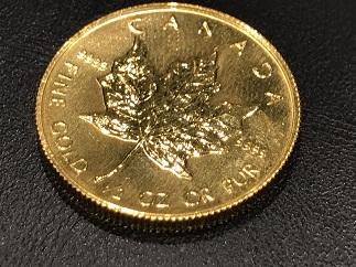 メイプルリーフ コイン K24 999.9 1/2oz 貴金属 地金 買取 高い 質屋 福岡 天神 博多 赤坂 薬院