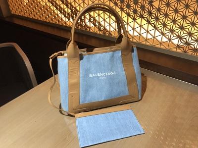 BALENCIAGA(バレンシアガ)ネイビーカバス トート バッグ デニム ブルー美品
