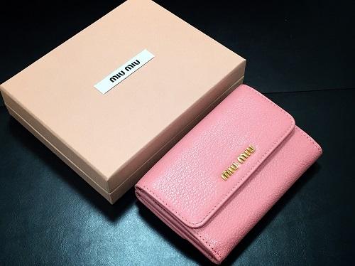 ミュウミュウ MIUMIU 二つ折り財布 レザー ピンク