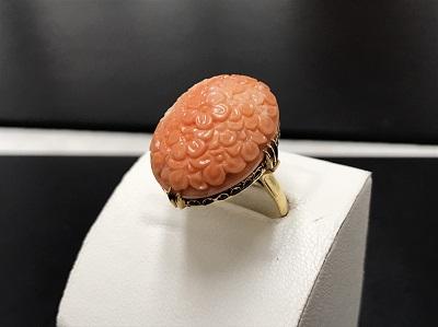 骨董品 珊瑚 サンゴ 指輪 K18 金 高価買取 七条店
