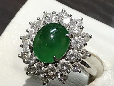ヒスイ(翡翠 JADE) リング Diamond(ダイヤモンド)指輪 プラチナ 京都 四条 烏丸 河原町 買取