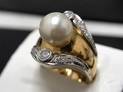パール 10mm メレダイヤモンド 0.47ct リング K18 金 Pt900 プラチナ コンビ 宝石 高価買取 宅配買取