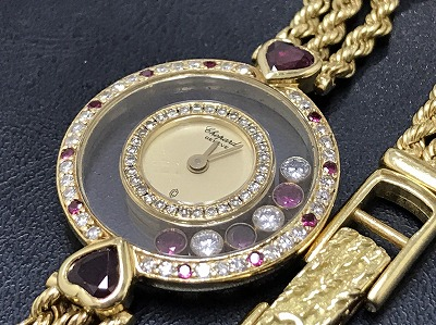 Chopard ショパール ハッピーダイヤモンド レディースウォッチ 750YG イエローゴールド 腕時計 高価買取 出張買取