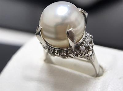 パール 12mm メレダイヤモンド 0.12ct リング Pt900 プラチナ 宝石 高価買取 宅配買取