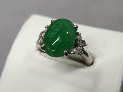 リング 指輪 ヒスイ 4.78ct メレダイヤモンド 0.26ct Pt900 プラチナ 買取 銀座