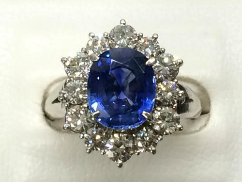 サファイア リング プラチナPt900 メレダイヤモンド 宝石 希少 高価買取 マルカ 出張買取