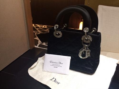 クリスチャンディオール Christian Dior レディディオールミニ サテン ブラック ラインストーン