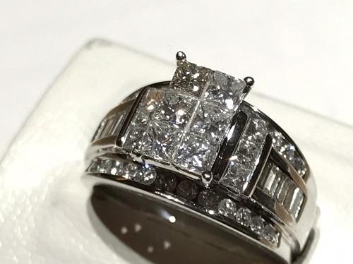 ダイヤモンドリング K14WG 1.85カラット 9.1g