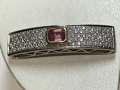 パパラチアサファイア サファイア(SAPPHIRE)宝石 ジュエリー ダイヤモンド(DIAMOND) 帯留め プラチナ