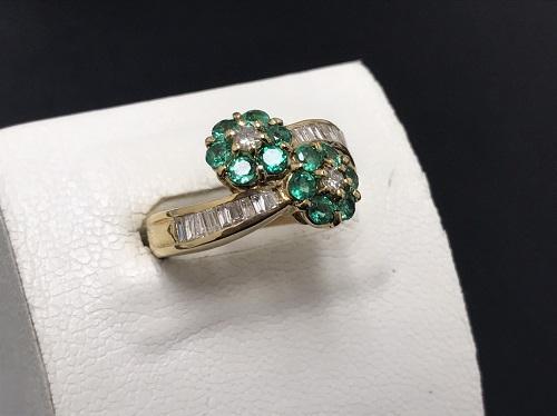 リング K18 0.70ct 0.40ct 5.9g エメラルド ダイヤモンド 宝石 金 七条 買取