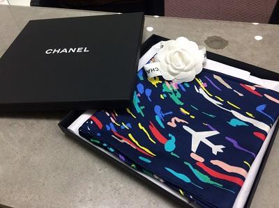 シャネル(CHANEL)スカーフ 飛行機柄 ネイビー 買取 ブランドアパレル