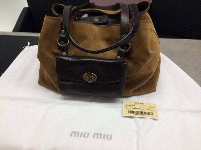 miumiu ミュウミュウ ハンドバッグ スエード RR0561 ブラウン ブランド 買取 宅配買取