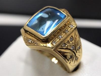 ブルートパーズ 6.70ct メレダイヤモンド 0.17ct リング K18 金 宝石 高価買取 宅配買取