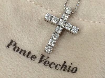 ポンテヴェキオ PonteVecchio ダイヤクロスネックレス 0.7ct K18WG