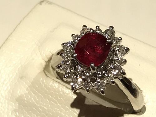 指輪 ルビー 1.33カラット ダイヤモンド 0.51カラット Pt900