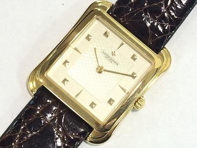 バシュロンコンスタン リベルテ 紳士用時計 金無垢 レザー 750 ホワイト マルカ 四条大宮店 高価買取り