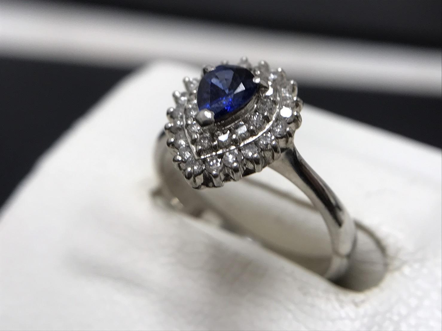サファイア 0.31ct メレダイヤモンド 0.28ct リング Pt900 プラチナ 宝石 高価買取 七条店