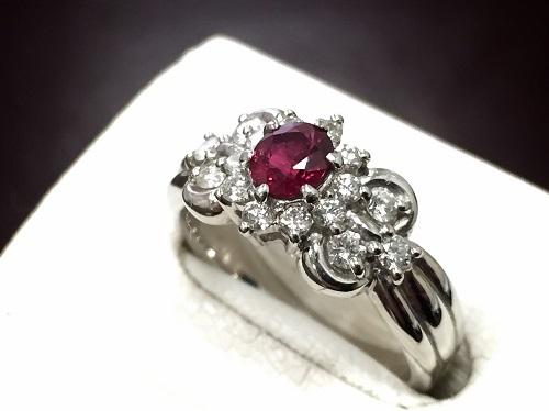 ルビーリング プラチナ ダイヤモンド Pt900 0.40ct 0.505ct