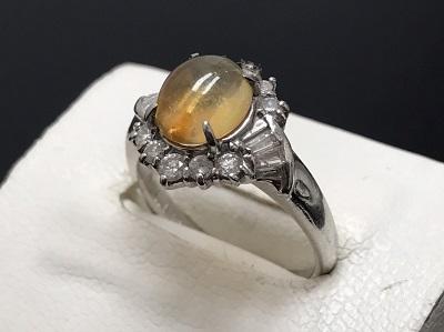 ファイヤーオパール 1.28ct メレダイヤモンド 0.50ct リング Pt900 プラチナ 宝石 高価買取 出張買取