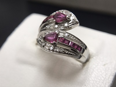 ルビー 0.81ct メレダイヤモンド 0.08ct リング Pt900 プラチナ 宝石 高価買取 七条店