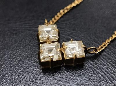 メレダイヤモンド 1.04ct ネックレス K18 金 プリンセスカット 宝石 高価買取 七条店