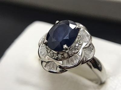 サファイア 1.50ct メレダイヤモンド 0.40ct リング Pt900 プラチナ 宝石 高価買取 七条店