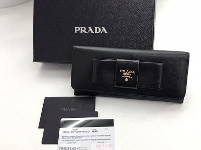 プラダ(PRADA) リボン 二つ折り長財布 サフィアーノ ブラック 1M1132 プラダ買取 三宮 元町 神戸