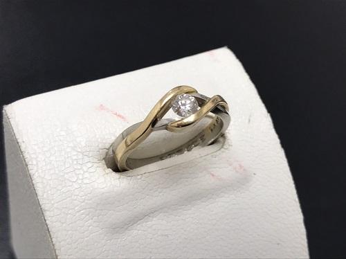 ダイヤモンドリング K18/Pt900 0.22ct 4.3g 宝石 貴金属 七条 買取