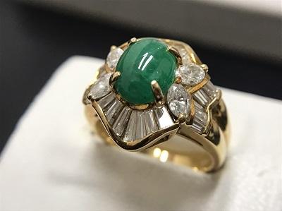 翡翠 1.75ct メレダイヤモンド 2.00ct リング K18 金 宝石 高価買取 出張買取