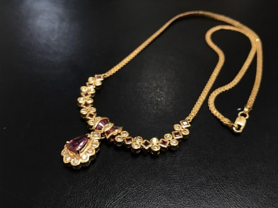 ルビー 0.70ct メレダイヤモンド ネックレス K18 金 宝石 高価買取 出張買取