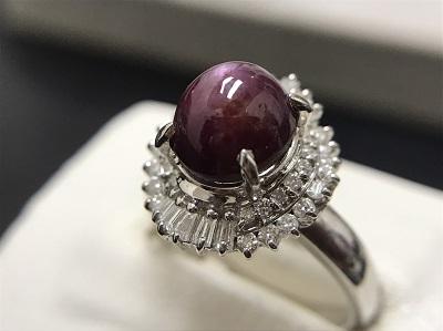 スタールビー 4.18ct メレダイヤモンド 0.40ct リング Pt900 プラチナ 宝石 高価買取 出張買取